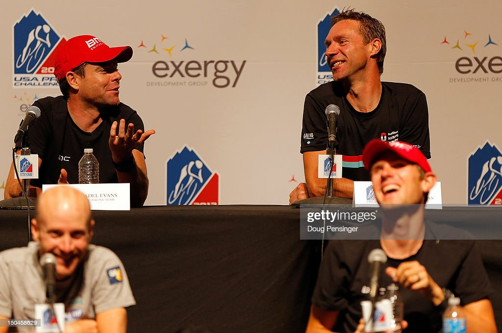 Cadel Evans (top left) of Australia riding for BMC Racing, Jens Voigt (top right) of Germany riding for Radiskack-Nissan, Levi Leipheimer (bottom left) of the USA riding for Omega Pharma-Quickstep and Tejay Van Garderen (bottom right) of the USA riding for BMC Racing address the media during the kick off press conference for the 2012 USA Pro Challenge on August 18, 2012 in Durango, Colorado.