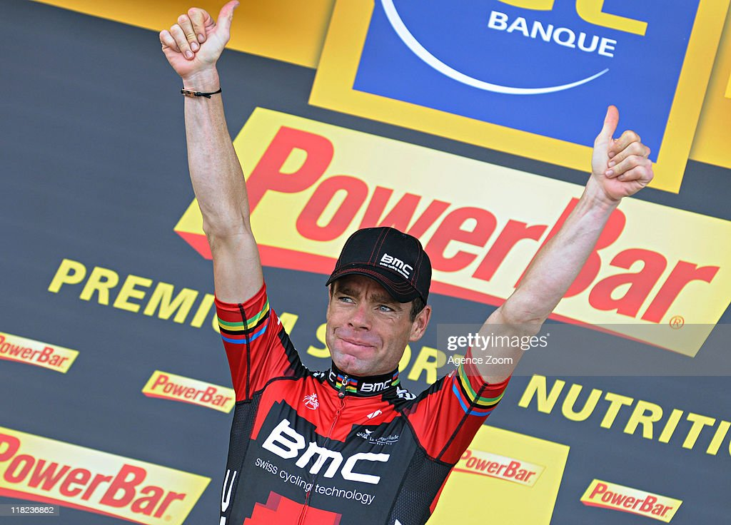 <a gi-track='captionPersonalityLinkClicked' href=/galleries/search?phrase=Cadel+Evans&family=editorial&specificpeople=661127 ng-click='$event.stopPropagation()'>Cadel Evans</a> of BMC Racing Team during Stage 4 of the Tour de France on Tuesday July 5, 2011 in Lorient to Mur-de-Bretagne, France.