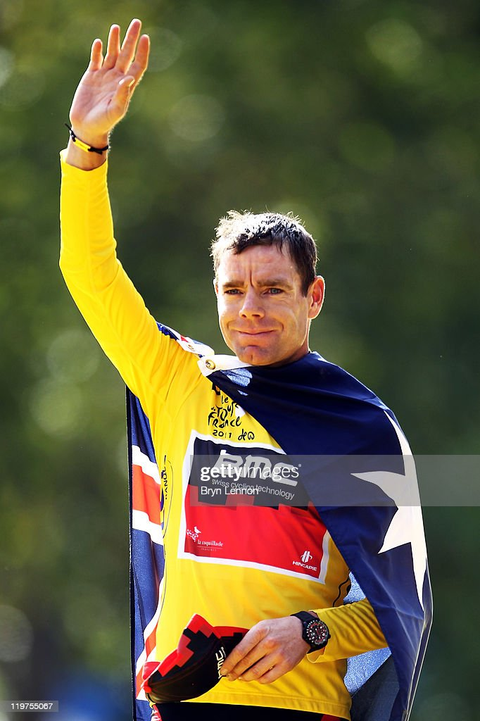 <a gi-track='captionPersonalityLinkClicked' href=/galleries/search?phrase=Cadel+Evans&family=editorial&specificpeople=661127 ng-click='$event.stopPropagation()'>Cadel Evans</a> of team BMC celebrates on the podium after winning the 2011 Tour de France after the twenty first and final stage of Le Tour de France 2011, from Creteil to the Champs-Elysees in Paris on July 24, 2011 in Paris, France.