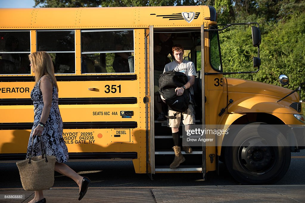A cadet candidate gets off a bus as he arrives on campus for Reception Day at the United States Military Academy at West Point, June 27, 2016 in West Point, New York. Reception Day is the day when new cadets report to West Point to begin the process of becoming West Point cadets and future U.S. Army officers. Upwards of 1,300 cadet candidates for the class of 2020 will report to West Point on Monday. The new cadets will begin six weeks of basic training before Acceptance Day in early August.