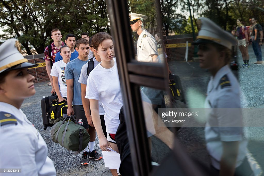 Cadet candidates board a bus during the in-processing procedures during Reception Day at the United States Military Academy at West Point, June 27, 2016 in West Point, New York. Reception Day is the day when new cadets report to West Point to begin the process of becoming West Point cadets and future U.S. Army officers. Upwards of 1,300 cadet candidates for the class of 2020 will report to West Point on Monday. The new cadets will begin six weeks of basic training before Acceptance Day in early August.