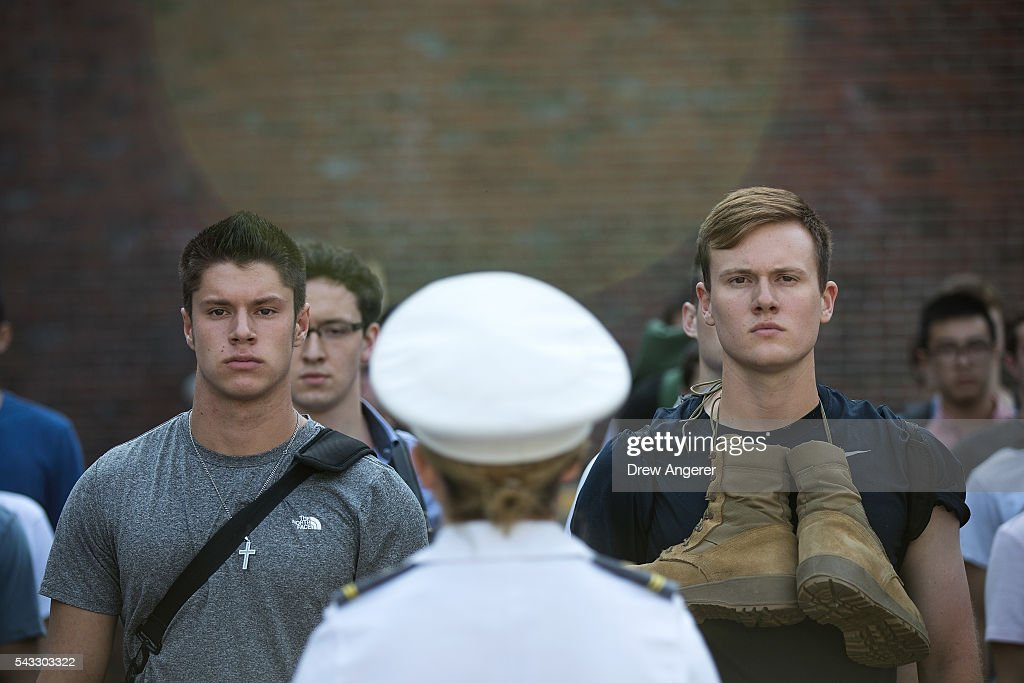 A cadet candidates receive orders from older cadets during the in-processing procedures during Reception Day at the United States Military Academy at West Point, June 27, 2016 in West Point, New York. Reception Day is the day when new cadets report to West Point to begin the process of becoming West Point cadets and future U.S. Army officers. Upwards of 1,300 cadet candidates for the class of 2020 will report to West Point on Monday. The new cadets will begin six weeks of basic training before Acceptance Day in early August.