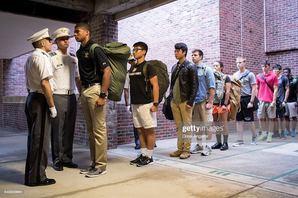 Cadet candidates receive orders from older cadets during the in-processing procedures during Reception Day at the United States Military Academy at West Point, June 27, 2016 in West Point, New York. Reception Day is the day when new cadets report to West Point to begin the process of becoming West Point cadets and future U.S. Army officers. Upwards of 1,300 cadet candidates for the class of 2020 will report to West Point on Monday. The new cadets will begin six weeks of basic training before Acceptance Day in early August.