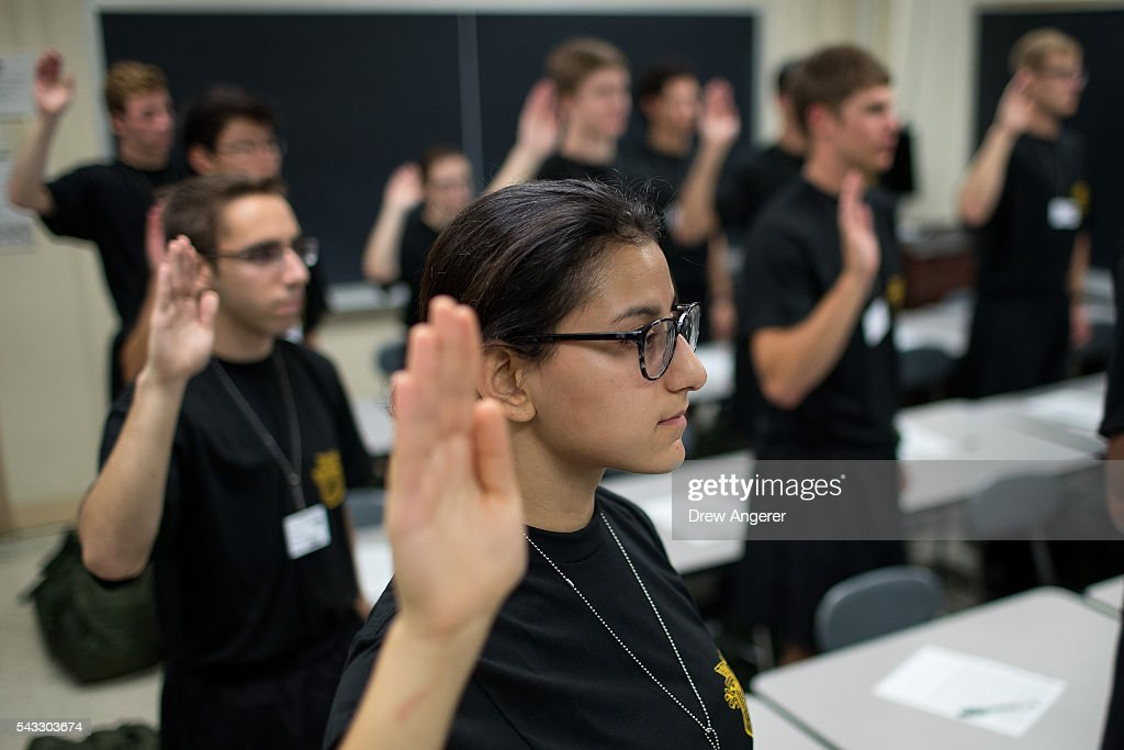 Cadet candidates recite the Oath of Allegiance during the in-processing procedures during Reception Day at the United States Military Academy at West Point, June 27, 2016 in West Point, New York. Reception Day is the day when new cadets report to West Point to begin the process of becoming West Point cadets and future U.S. Army officers. Upwards of 1,300 cadet candidates for the class of 2020 will report to West Point on Monday. The new cadets will begin six weeks of basic training before Acceptance Day in early August.