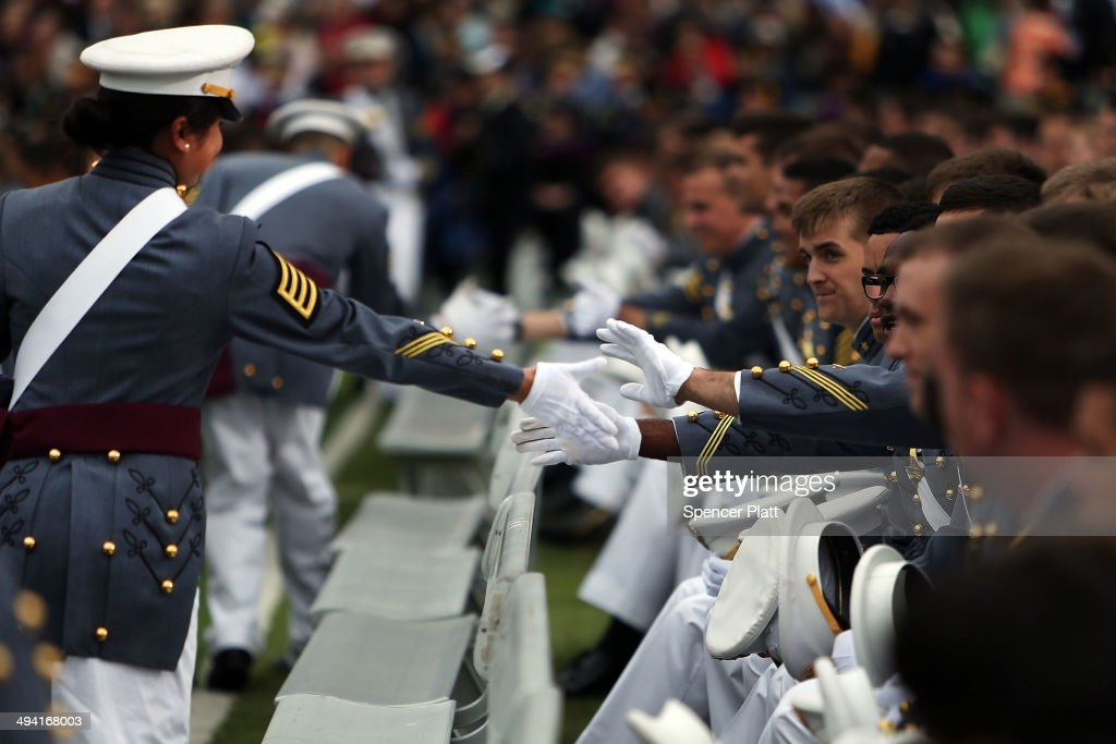 Cadets congratulate each other during the graduation ceremony at the U.S. Military Academy on May 28, 2014 in West Point, New York. President Barack Obama gave the commencement address at the graduation ceremony. In a highly anticipated speech on foreign policy, the President provided details on his plans for winding down America's military commitment in Afghanistan and on future military threats to the United States. Over 1,000 cadets were expected to graduate from the class of 2014 and will be commissioned as second lieutenants in the U.S. Army.