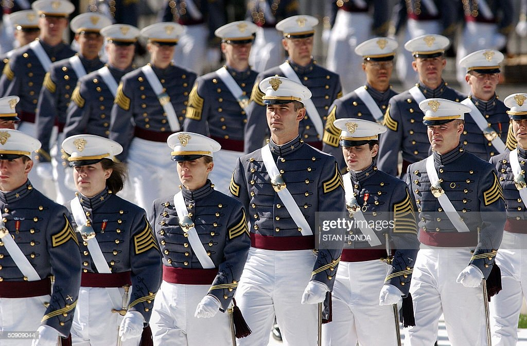 Cadets from the US Military Academy class of 2004 arrive at their graduation ceremony 29 May 2004 at West Point, NY. US Secretary of Defense Donald Rumsfeld gave the graduation address to the 935 graduates who received their diplomas. AFP PHOTO/Stan HONDA