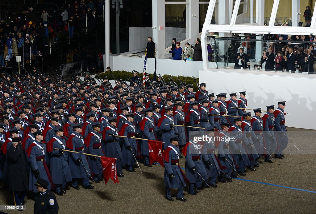 Cadets from the Virginia Military Institute participate in the Inauguration Parade for the second term of U.S. President Barack Obama in Washington, D.C., Monday, January 21, 2013.