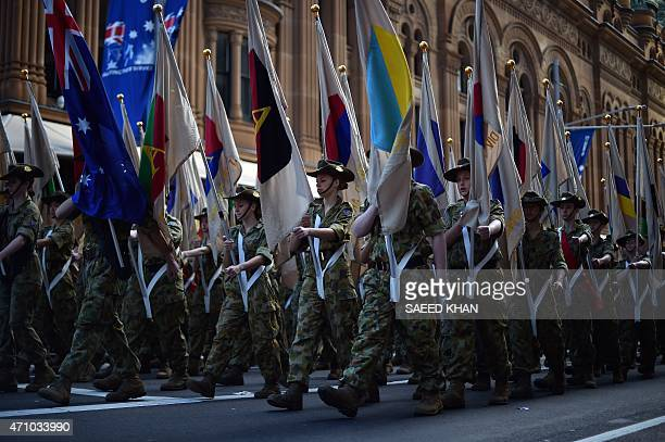 Cadets march along George Street during the Anzac Day parade in Sydney on April 25 2015 Record numbers of Australians and New Zealanders turned out...
