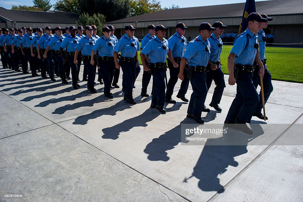 Cadets march in formation at the California Highway Patrol (CHP ...
