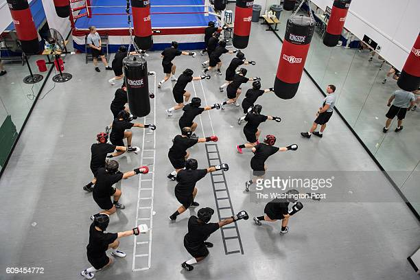 Cadets practice different punches during a required coed boxing class at United States Military Academy West Point in West Point NY on Friday...