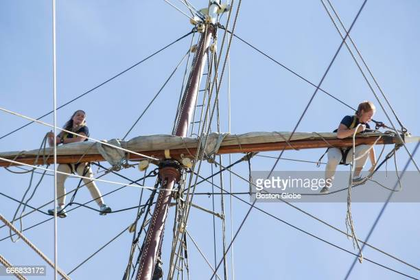 Cadets secure a sail on the Norwegian tall ship the Sørlandet as it sits docked at Fan Pier in Boston on Apr 9 2017 The tall ship Sorlandet the...