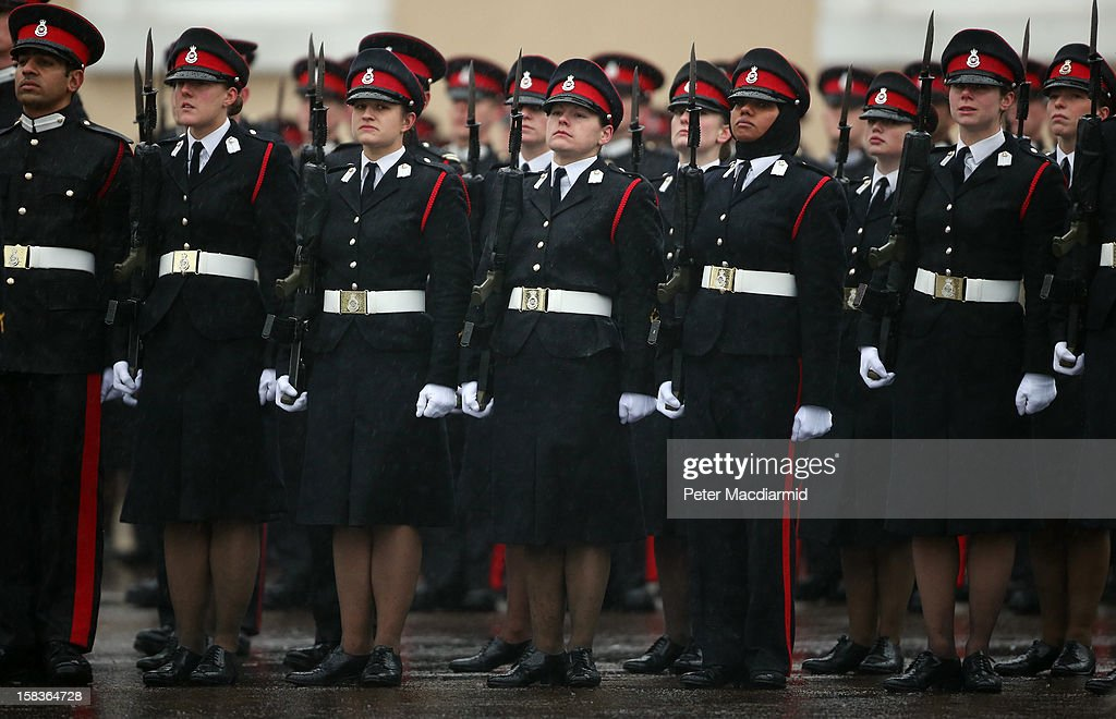 Cadets take part in the Sovereign's Parade at the Royal Military Academy at Sandhurst on December 14, 2012 in England. The parade marks the completion of 44 weeks of training for 200 young people who will be commissioned into the British Army and the armies of 13 overseas countries. Senior Under Officer Sarah Hunter-Choat became the fourth woman in the Royal Military Academy's history to receive the prestigious Sword of Honour which is awarded to the best Officer Cadet on the course.