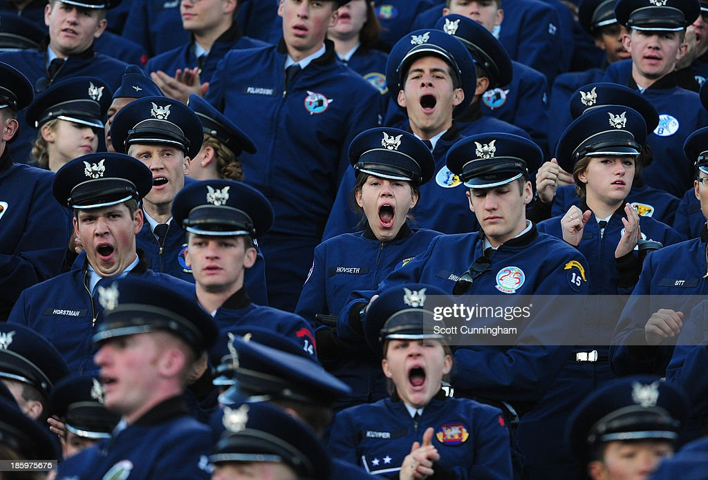 Cadets watch the action between the Air Force Falcons and the Notre Dame Fighting Irish at Falcon Stadium on October 26, 2013 in Colorado Springs, Colorado.