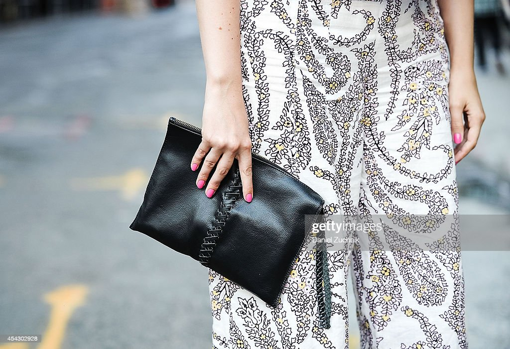 Cadiar Du'Jour is seen around Soho wearing a Zara top, Elle Tahari pants and an Anthropologie bag on August 28, 2014 in New York City.