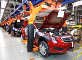 Cadillac ATS goes through production on the assembly line at the General Motors Lansing Grand River Assembly Plant July 26 2012 in Lansing Michigan...