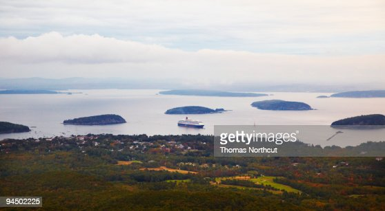 cadillac mountain looking down to bar harbor stock photo getty. Cars Review. Best American Auto & Cars Review