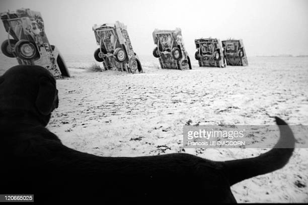 Cadillac Ranch installation by the art group Ant Farm Amarillo Texas 1993