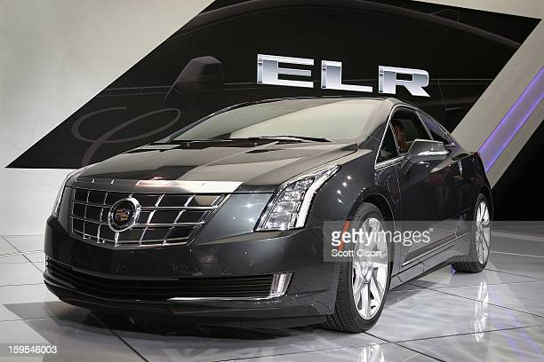 Cadillac shows off their ELR extendedrange luxury hybrid during the media preview at the North American International Auto Show on January 15 2013 in...