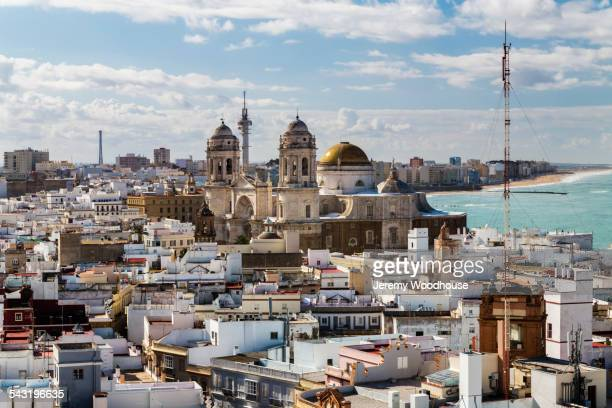 Cadiz cityscape and ocean under clouds, Andalusia, Spain