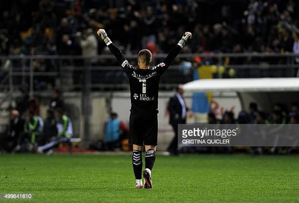 Cadiz's goalkeeper Pol Balleste celebrates after a goal during the Spanish Copa del Rey football match Cadiz CF vs Real Madrid at the Ramon de...
