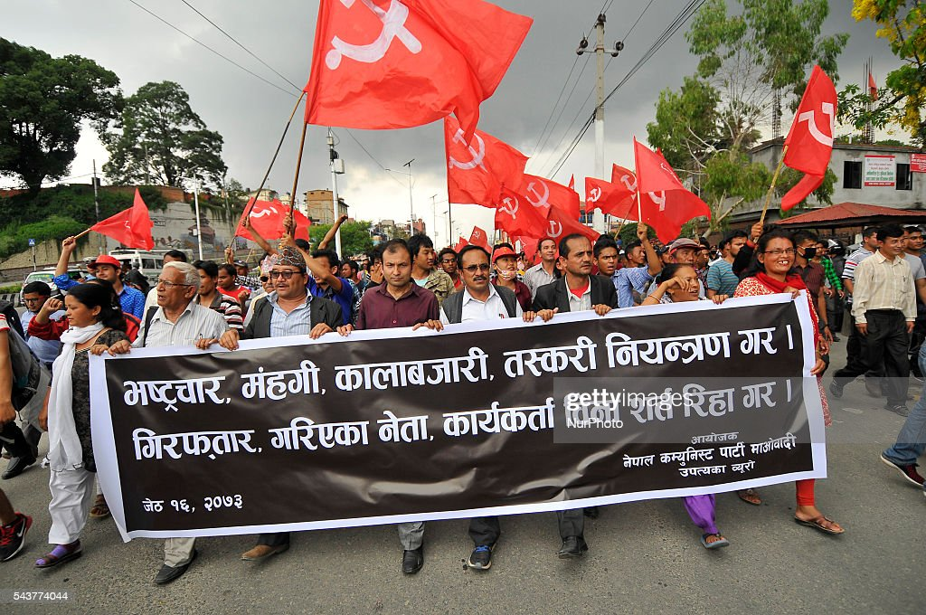 Cadres of Communist Party of Nepal Maoist (CPN Maoist) during a protest rally to pressurize against the Government of Nepal for Black marketing, corruption, Price Hiking, Smuggling and remedy leave of Cadres & Political Leader of CPN Maoist at Singha Durbar, Kathmandu, Nepal on June 30, 2016.