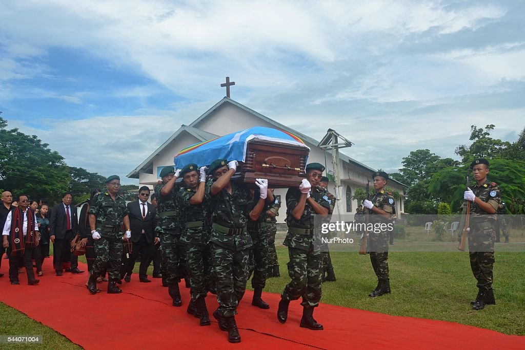 Cadres of National Socialist Council of Nagaland-Isak Muivah (NSCN-IM) carries the mortal remain of its Chairman Isak Chishi Swu for the state funeral service at their council headquarter Hebron, some 40 kms away from Dimapur, India north eastern state of Nagaland on Friday, July 01, 2016. The mortal remain of Swu will be taken to his native village Chishilimi where the last funeral rites will be done on 2nd of June. NSCN-IM was formed in 1980 by Muivah and Swu. The Indian government signed a 'peace treaty with the NSCN-IM in August 2015.