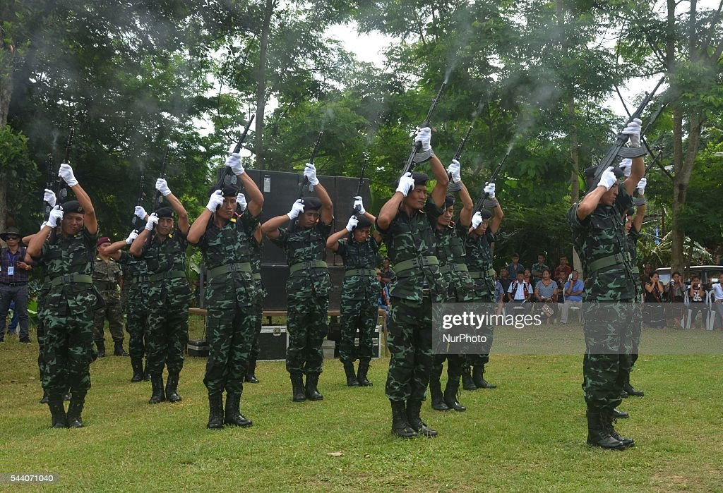 Cadres of National Socialist Council of Nagaland-Isak Muivah (NSCN-IM) perform gun salute during the state funeral service to its Chairman Isak Chishi Swu at their council headquarter Hebron, some 40 kms away from Dimapur, India north eastern state of Nagaland on Friday, July 01, 2016. The mortal remain of Swu will be taken to his native village Chishilimi where the last funeral rites will be done on 2nd of June. NSCN-IM was formed in 1980 by Muivah and Swu. The Indian government signed a 'peace treaty with the NSCN-IM in August 2015.