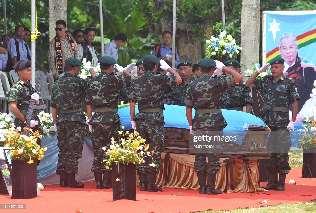 Cadres of National Socialist Council of Nagaland-Isak Muivah (NSCN-IM) present salute to its Chairman Isak Chishi Swu at the state funeral service at their council headquarter Hebron, some 40 kms away from Dimapur, India north eastern state of Nagaland on Friday, July 01, 2016. The mortal remain of Swu will be taken to his native village Chishilimi where the last funeral rites will be done on 2nd of June. NSCN-IM was formed in 1980 by Muivah and Swu. The Indian government signed a 'peace treaty with the NSCN-IM in August 2015.