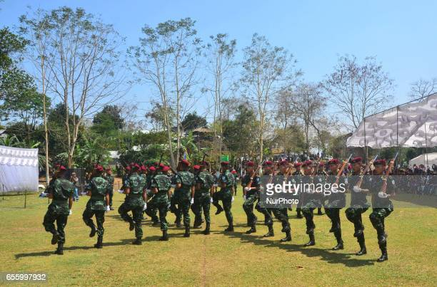 Cadres of National Socialist Council of the NagalandIsak Muivah perform a drill display during the 38th Naga Republic Day celebration at the NSCNIM...