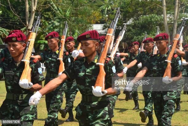 Cadres of National Socialist Council of the NagalandIsak Muivah march pass during the 38th Naga Republic Day celebration at the NSCNIM council...