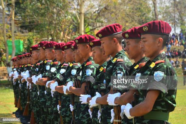 Cadres of National Socialist Council of the NagalandIsak Muivah stand in formation to perform a drill display during the 38th Naga Republic Day...