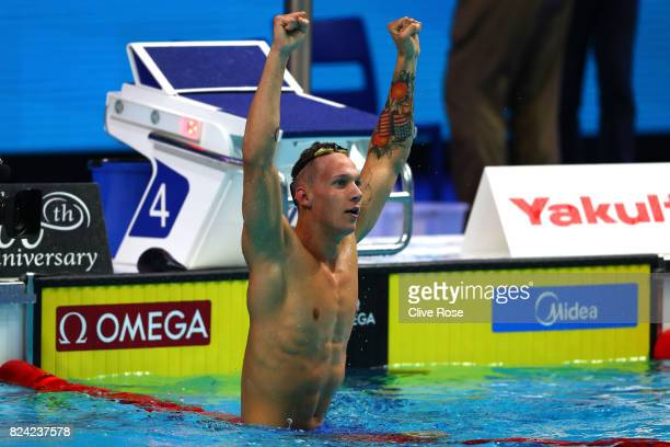 Caeleb Remel Dressel of the United States celebrates winning the gold medal during the Men's 50m Freestyle final on day sixteen of the Budapest 2017...