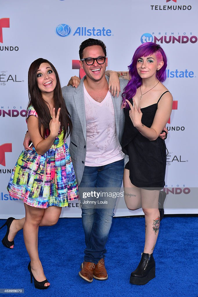 Caeli, Matthew Windey and Miranda Ibanez arrive at Telemundo's Premios Tu Mundo Awards 2014 at American Airlines Arena on August 21, 2014 in Miami, Florida.