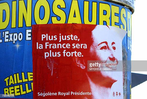 A campaign poster of the French Socialist presidential candidate Segolene Royal is pasted on a column 11 March 2007 in Caen The race for France's...