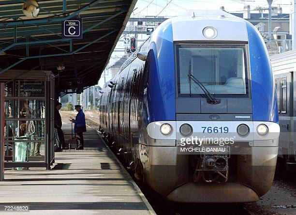 A Canadian trainmaker Bombardier train running between the cities of Rouen and Caen in Normandy western France 24 October 2006 arrives at the Caen's...