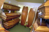 TO GO WITH LifestylefuneralsFrancereligionschedFEATURE by Chantal Vallette This file photo dated 09 May 2003 shows coffins for sale at a branch of...