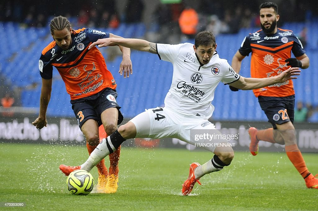 Caen's Argentinian forward Emiliano Sala (C) vies with Montpellier's French defender <a gi-track='captionPersonalityLinkClicked' href=/galleries/search?phrase=Daniel+Congre&family=editorial&specificpeople=2167788 ng-click='$event.stopPropagation()'>Daniel Congre</a> (L) during the French L1 football match between Montpellier and Caen at Mosson Stadium in Montpellier, southern France, on April 19, 2015.