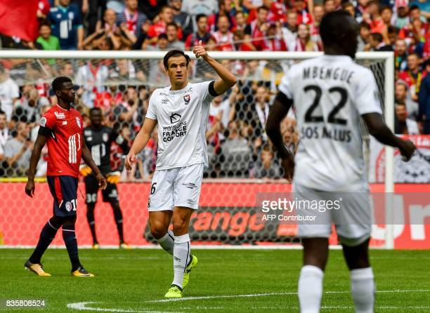 Caen's Croatian forward Ivan Santini celebrates after scoring a goal during the French L1 football match Lille vs Caen on August 20 2017 at the...