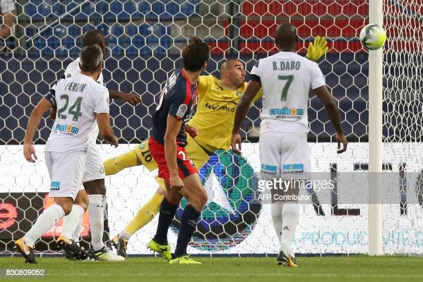Caen's Croatian forward Ivan Santini hits the post during the French L1 football match between Caen and SaintEtienne on August 12 at the Michel...