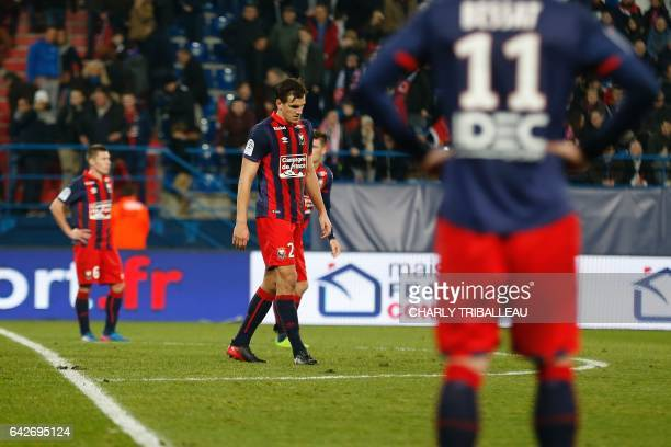 Caen's Croatian forward Ivan Santini reacts after losing the French L1 football match between Caen and Lille on February 18 2017 at the Michel...