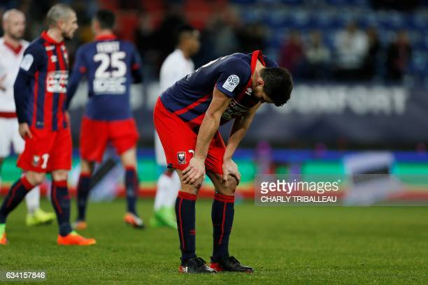 Caen's Croatian forward Ivan Santini reacts at the end of the French L1 football match between Caen and Bordeaux at the Michel d'Ornano Stadium in...