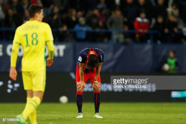 Caen's Croatian forward Ivan Santini reacts at the end of the French L1 football match between Caen and Nantes on April 22 2017 at the Michel...