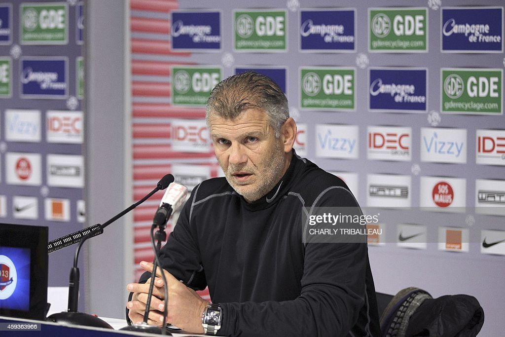 Caen's football club French head coach Patrice Garande gives a press conference about an inquiry on alleged matchfixing in French Ligue 2 on November...