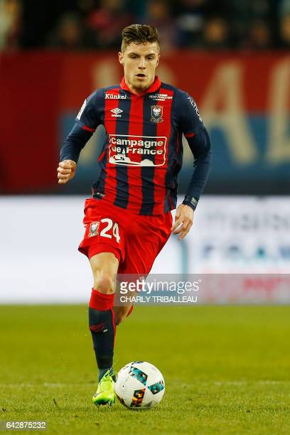 Caen's French defender Frederic Guilbert controls the ball during the French L1 football match between Caen and Lille on February 18 2017 at the...