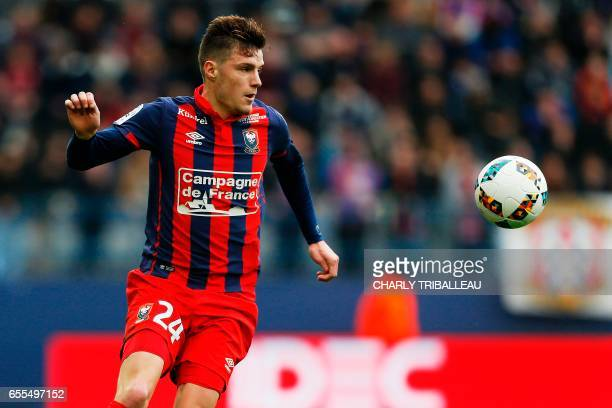Caen's French defender Frederic Guilbert controls the ball during the French L1 football match between Caen and Monaco on March 19 2017 at the Michel...