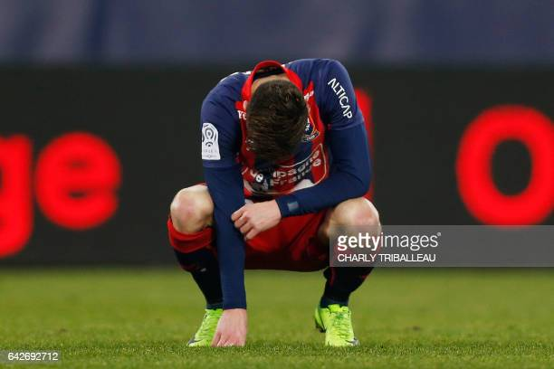 Caen's French defender Frederic Guilbert reacts after the French L1 football match between Caen and Lille on February 18 2017 at the Michel d'Ornano...