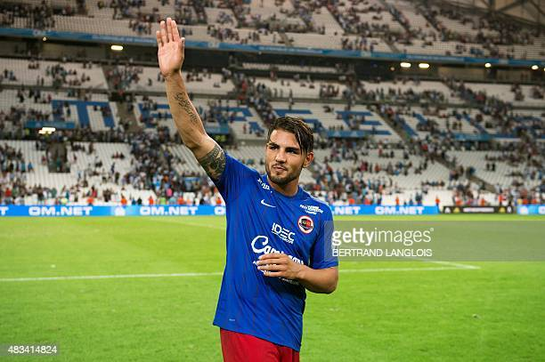 Caen's French forward Andy Delort acknowledges the crowd following the French L1 football match between Olympique de Marseille and Stade Malherbe de...