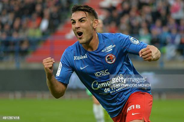 Caen's French forward Andy Delort celebrates after scoring during the French L1 football match between Caen and SaintEtienne at Michel d'Ornano...
