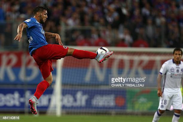 Caen's French forward Andy Delort controls the ball during the French L1 football match between Stade Malherbe de Caen and Toulouse Football Club on...