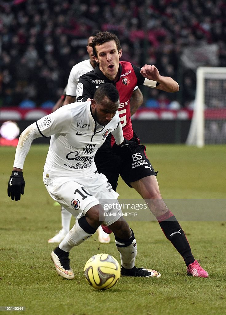 Caen's French forward Lenny Nangis (L) vies with Rennes' French defender <a gi-track='captionPersonalityLinkClicked' href=/galleries/search?phrase=Romain+Danze&family=editorial&specificpeople=4121826 ng-click='$event.stopPropagation()'>Romain Danze</a> during the French L1 football match Rennes against Caen at the route de Lorient stadium in Rennes, western France, on January 25, 2015.